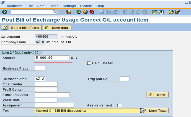 Bill of Exchange Discounting Interest Line Item