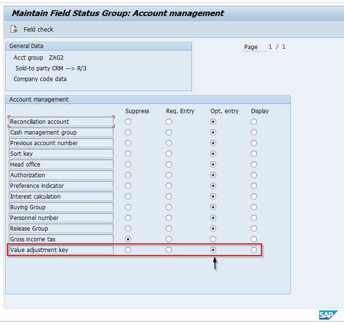 Value Adjustment Key Set to Optional for Customer Master Account Group