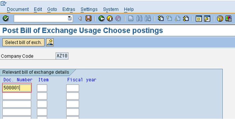 Enter Bills of Exchange Screen