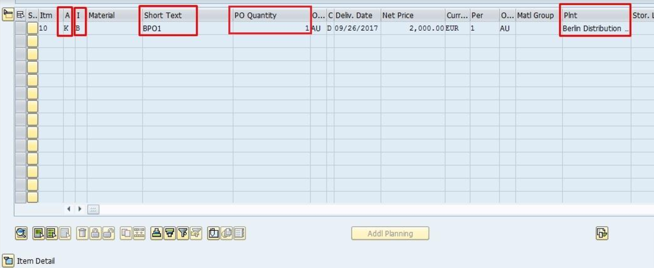 Blanket Purchase Order Item Data