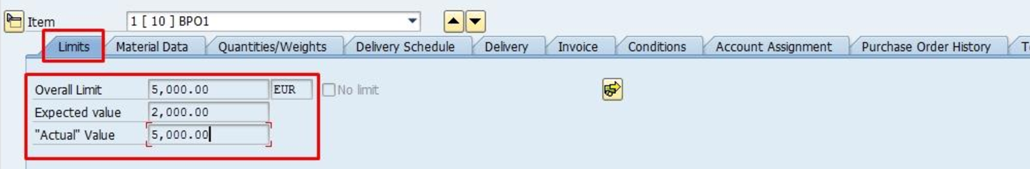 Blanket Purchase Order Limits Item Details