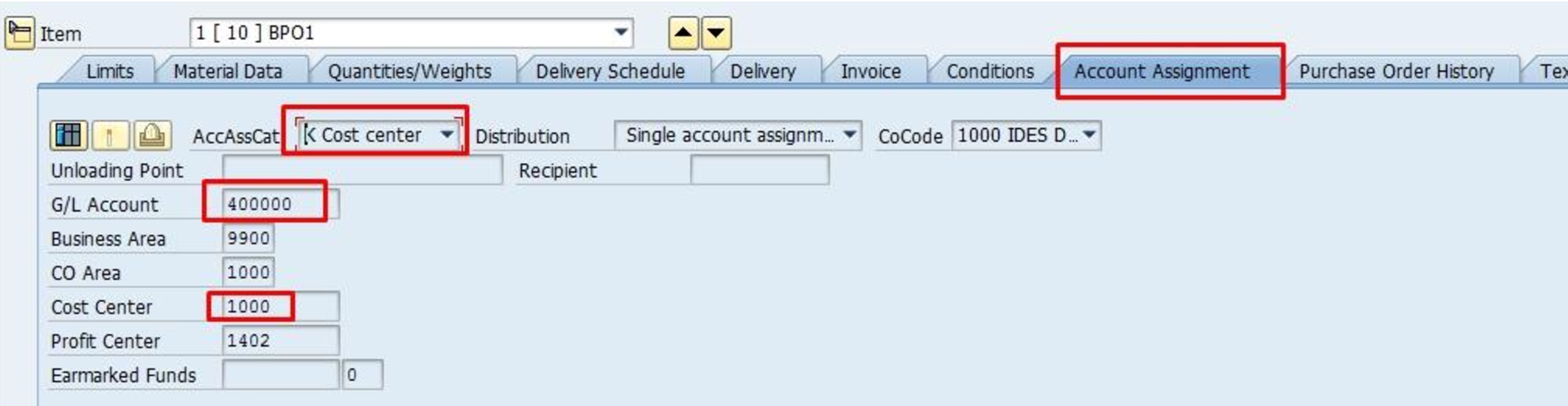 Blanket Purchase Order Account Assignment Item Details