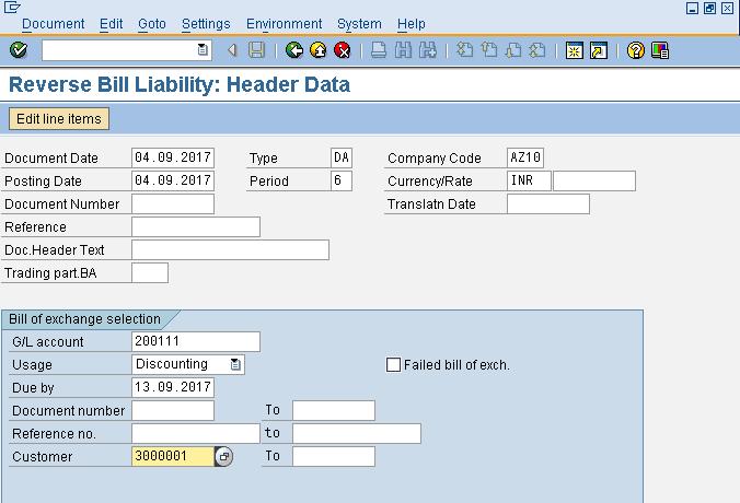 Reverse Liability Header Data