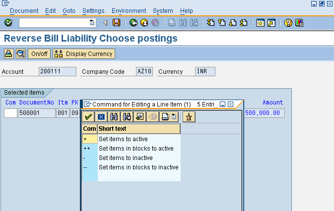 Edit Posting Line Item