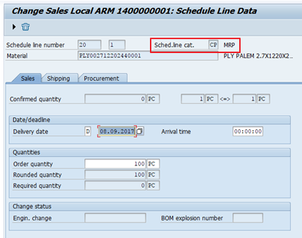 "Most of Sales Order Types Use SAP SD Schedule Line Category ""CP"""