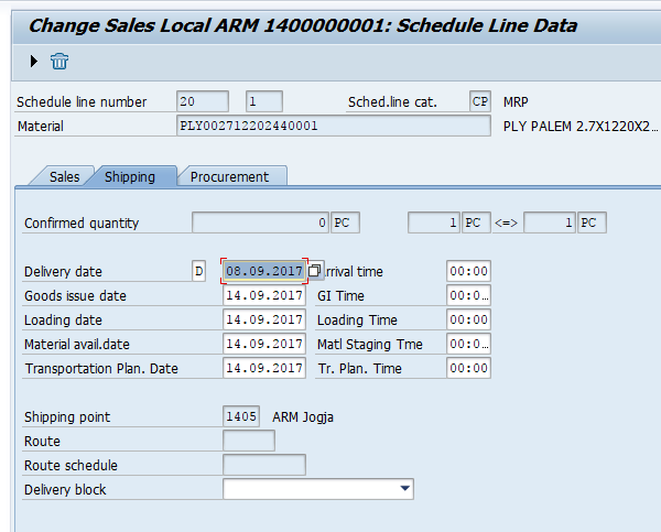 SAP SD Schedule Line Categories Determine Dates on Shipping Tab