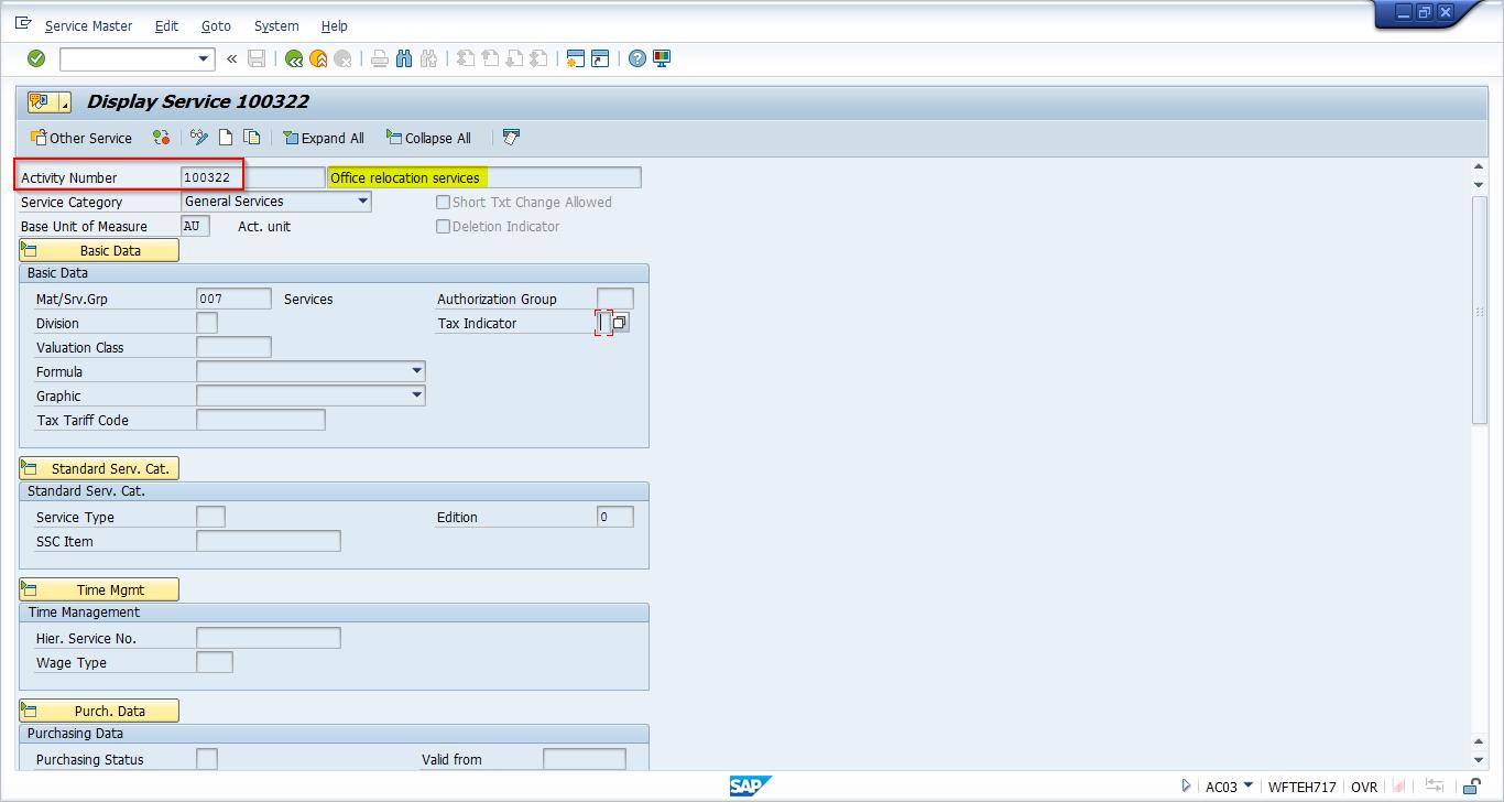 SAP Service Master Record