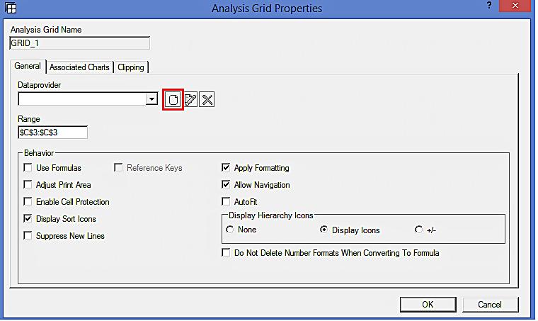 Analysis Grid Properties: Create Data Provider