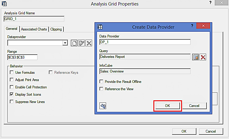 Analysis Grid Properties: Selecting the Query