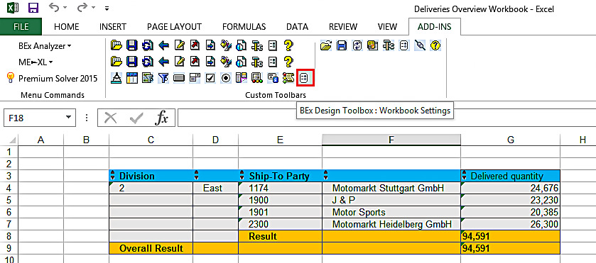 BEx Design Toolbox: Workbook Settings