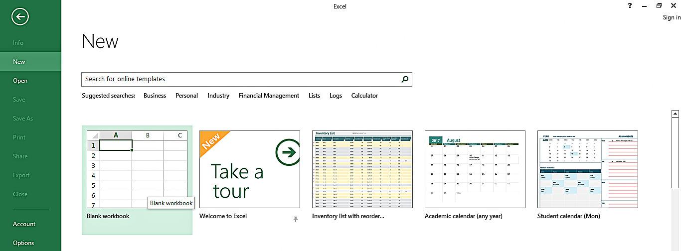 Creating a Blank Workbook
