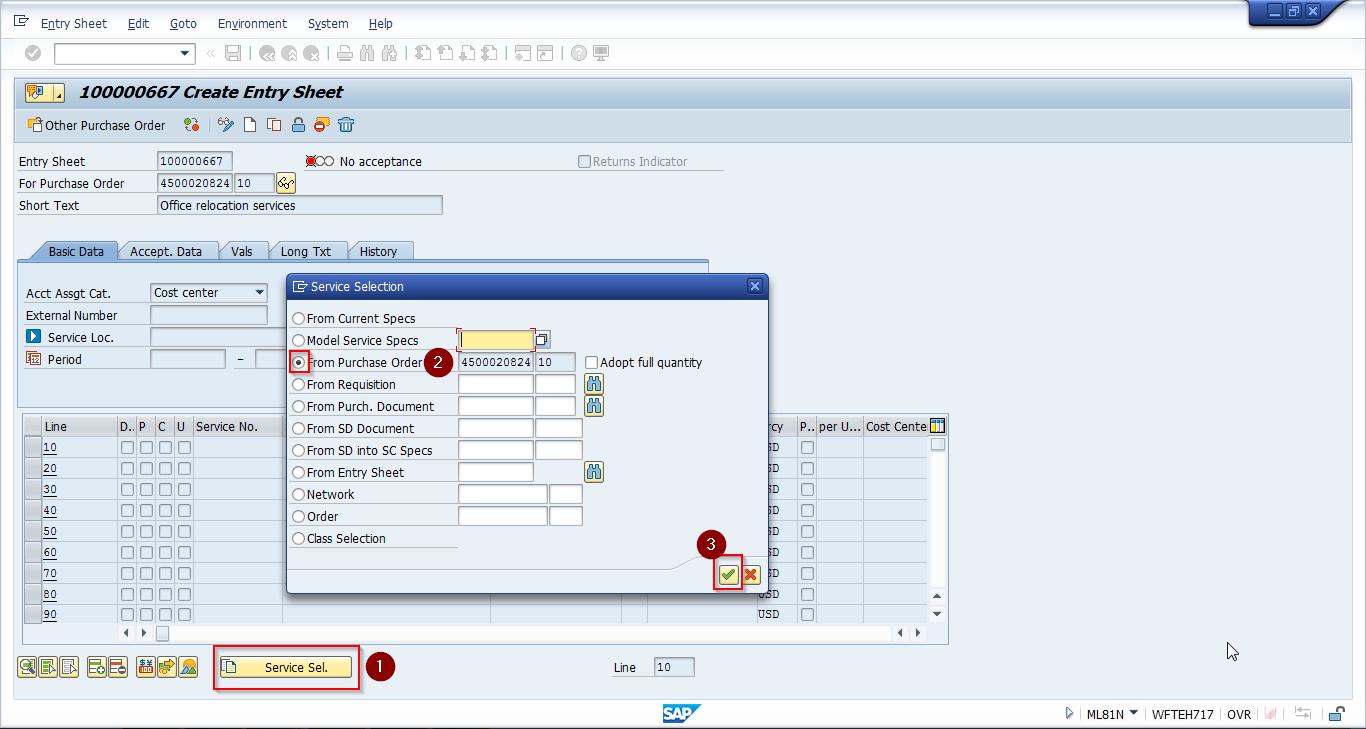 Service Entry Sheet Creation Through Service Selection