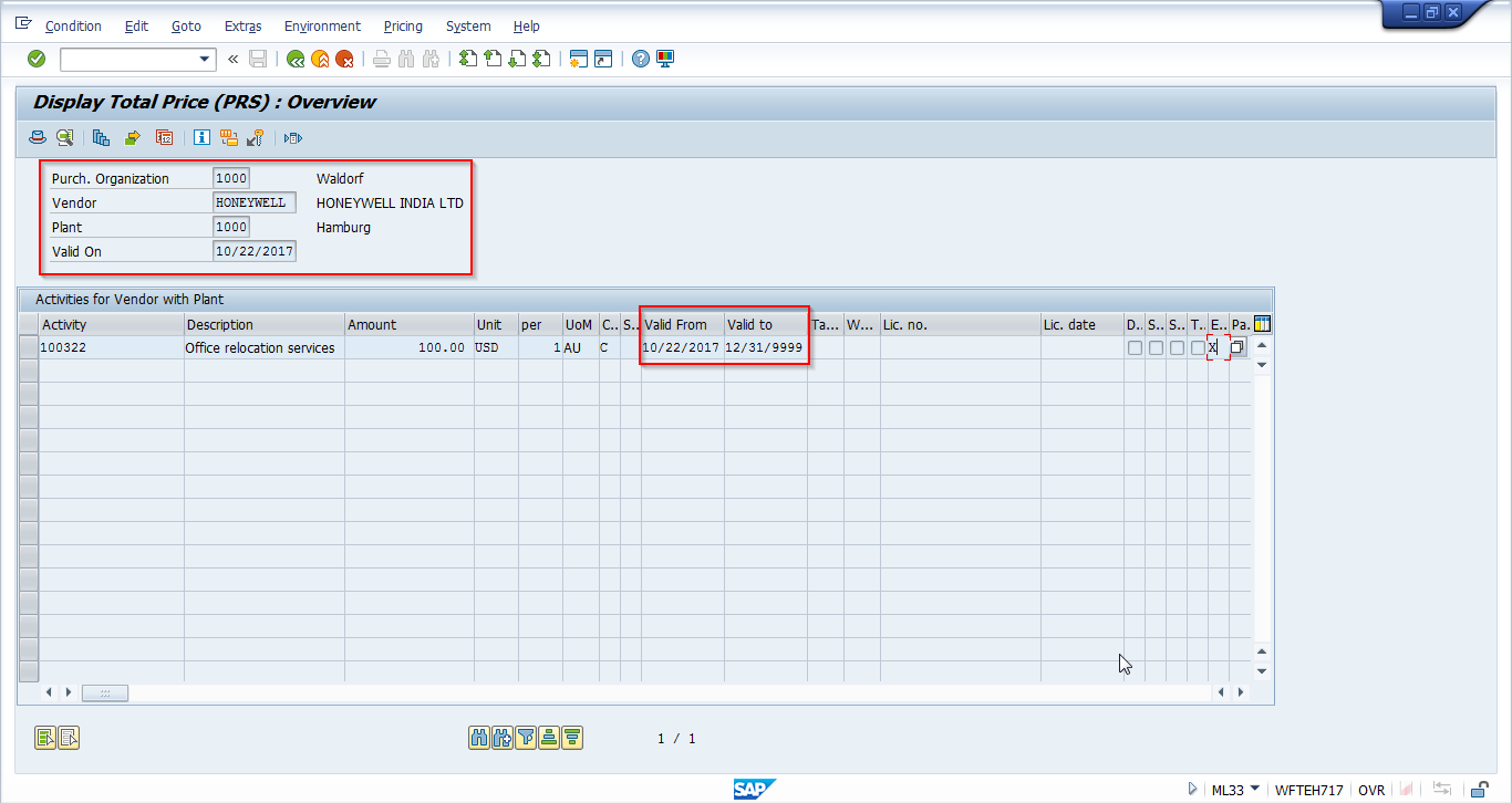 SAP Service Conditions