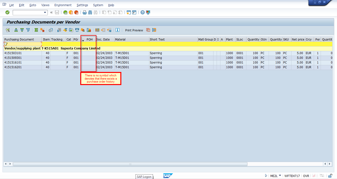 SAP Purchase Order List Without PO History