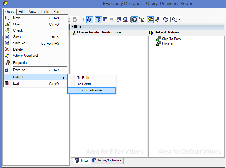 Accessing SAP BEx Broadcaster from Query Designer