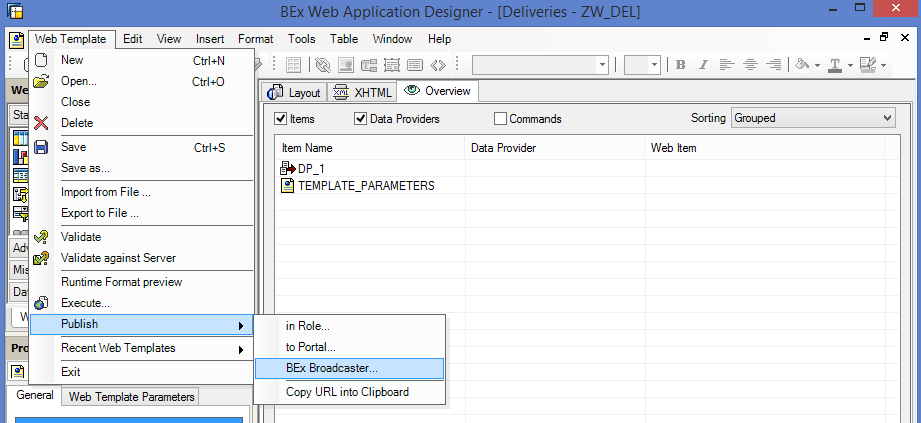 Accessing SAP BEx Broadcaster from BEx Web Application Designer