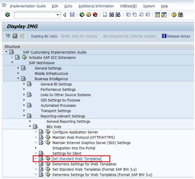 SAP Customizing IMG: Setting Standard Web Templates