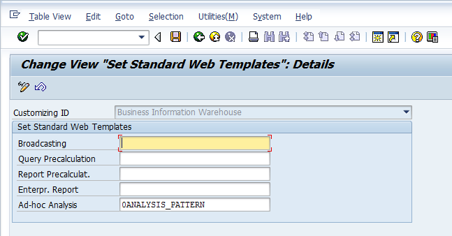 Setting Standard Web Templates