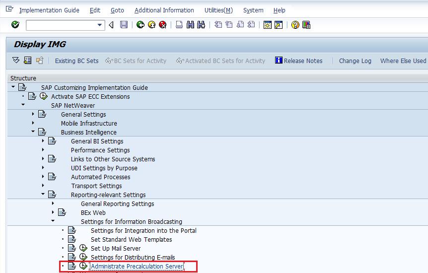 SAP Customizing IMG: Administrate Precalculation Server