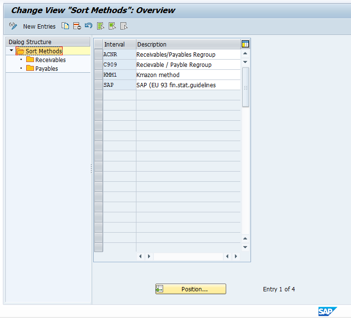 Sort Method Intervals for SAP AP AR Regrouping
