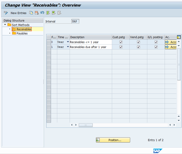 Receivables Folder in Sort Method Interval