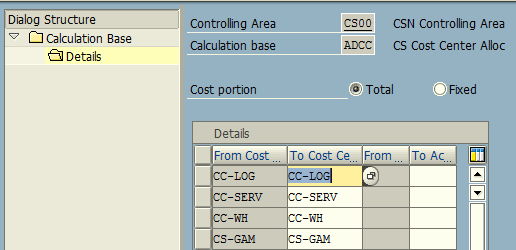 Calculation Base – Cost Center / Activity Type