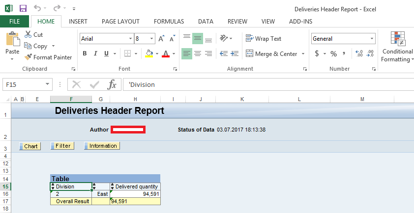 Deliveries Header Report (Sender Query): Output