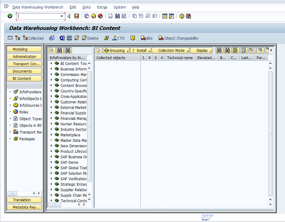 Data Warehousing Workbench: BI Content