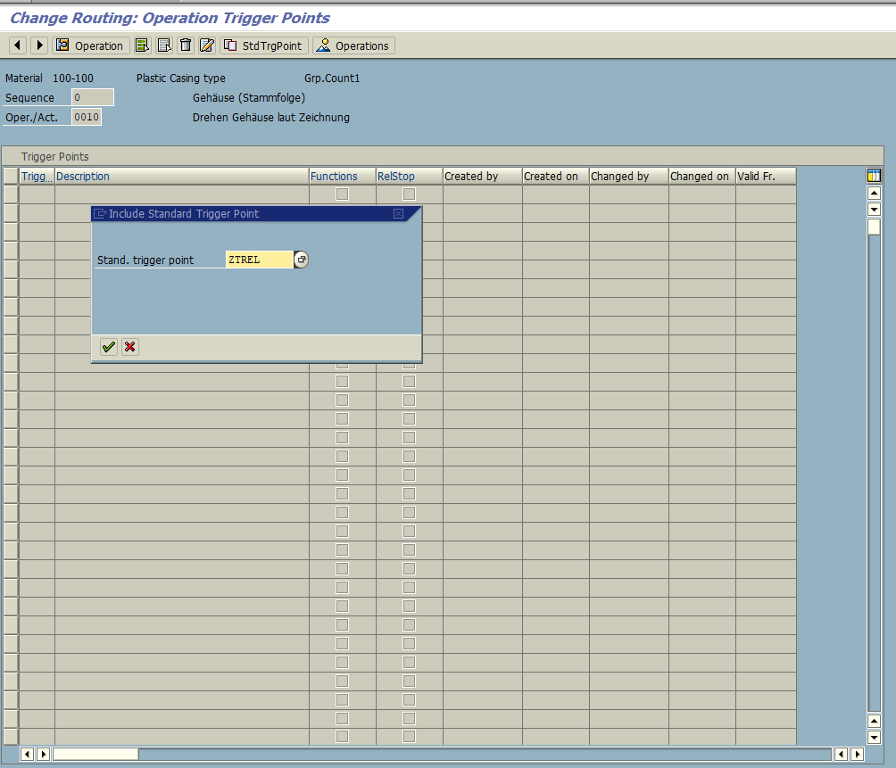 Copying Standard SAP Trigger Point to Operation