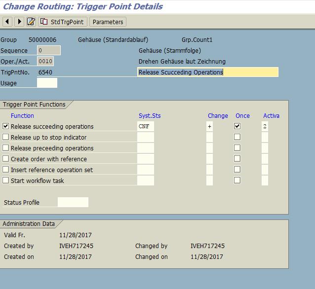 SAP Trigger Point Details