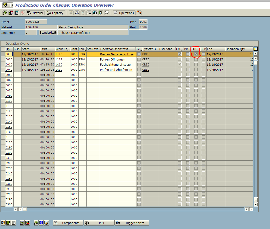 Production Order Operation View