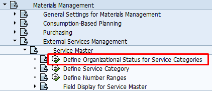 Define Organizational Status for Service Categories