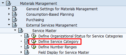 Define Service Category Path in SPRO