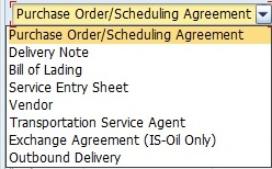 Purchase Order / Scheduling Agreement Selection