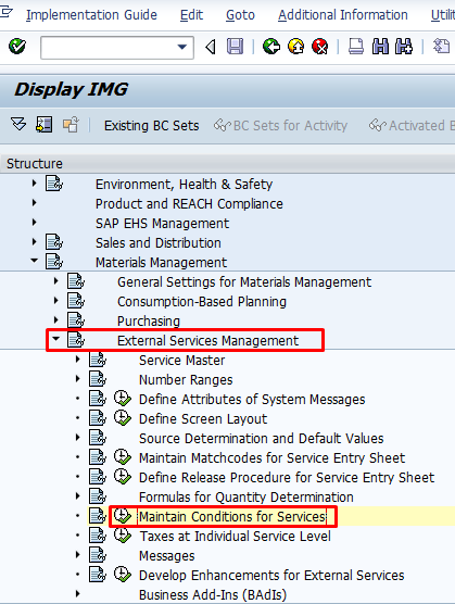 Maintain SAP Service Conditions