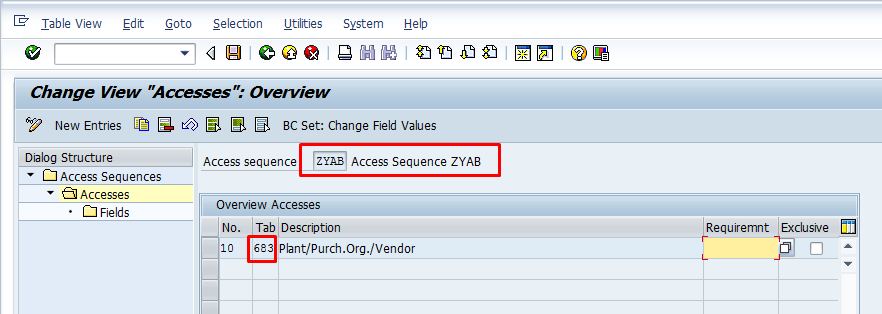 Link Condition Table to Access Sequence
