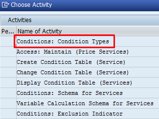 SAP Condition Types