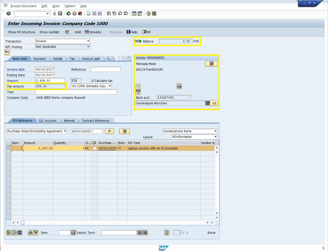 SAP Invoice Verification with Reference to a Purchase Order