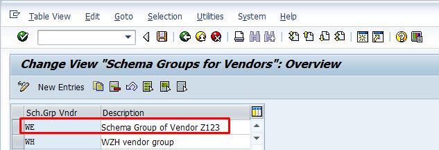 Schema Group for Vendor – Transaction OMFN
