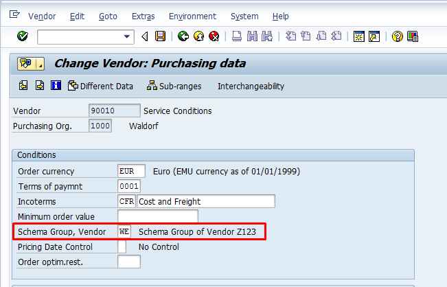 Assigning Schema Group to Vendor
