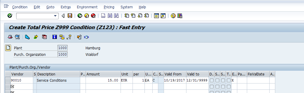 SAP Condition Record for Condition Type Z123