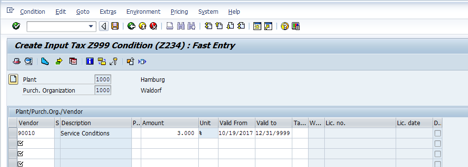 SAP Condition Record for Condition Type Z234