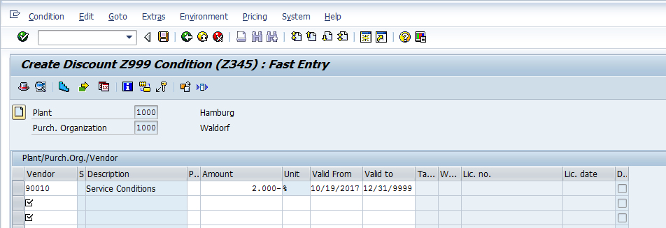 SAP Condition Record for Condition Type Z345