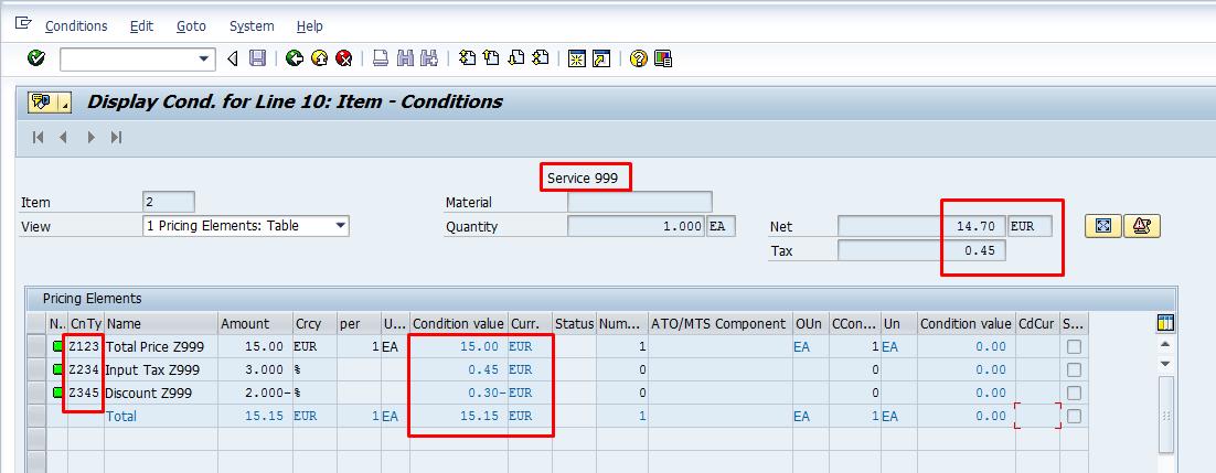 SAP Service Conditions - Calculation Schema in PO