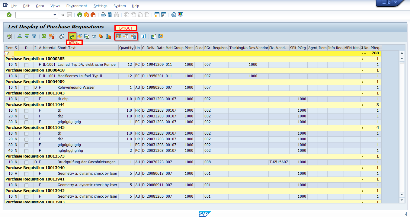 SAP Purchase Requisition Report Output / Results Screen