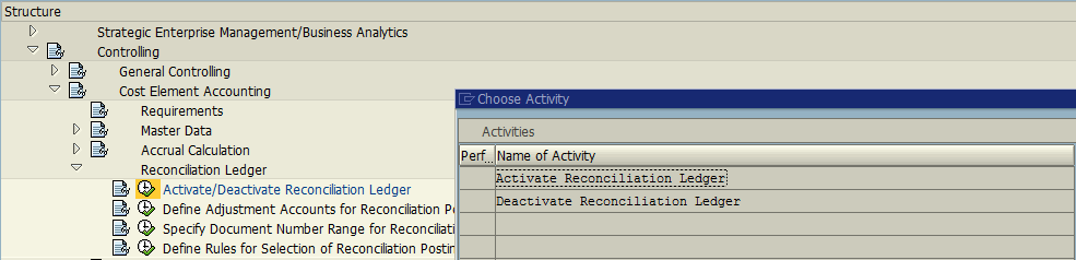 Activate SAP Reconciliation Ledger – Menu Path