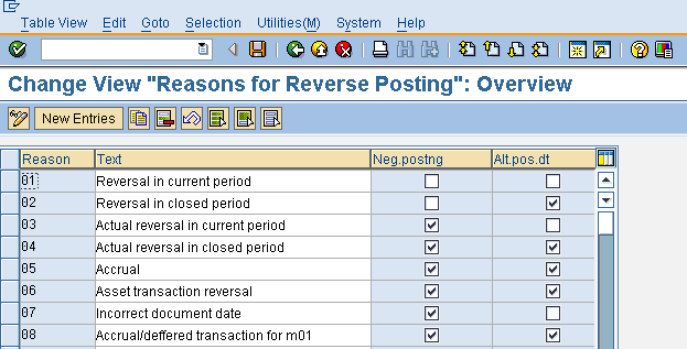 Reasons for Reverse Posting - Initial Screen