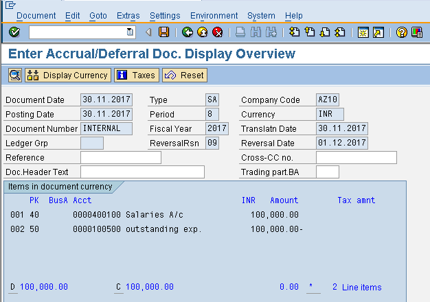 Accrual/Deferral Document Display
