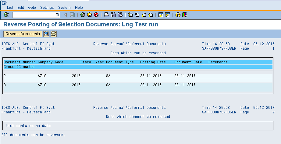 Reverse Accrual/Deferral Document – Test Run Results