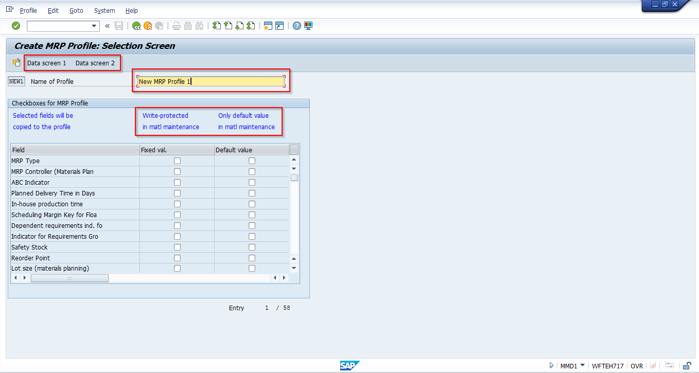 SAP MRP Profile Creation – Selection Screen